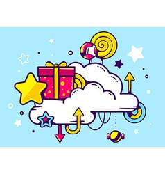Gift box and confection with cloud on blu vector