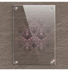 Glass plate on a leather background with vector