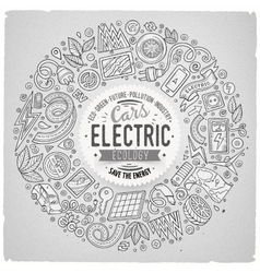 Hand drawn set of electric cars cartoon vector