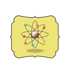 Isolated atom inside frame design vector