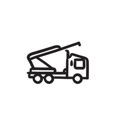 Machine with a crane and cradles sketch icon vector