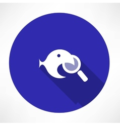 Magnifying Glass with a fish icon vector image vector image