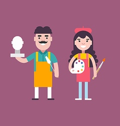 Male and Female Cartoon Character Sculptor and vector image