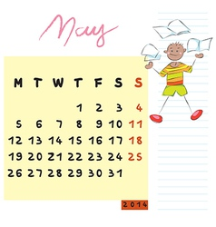may 2014 kids calendar vector image vector image
