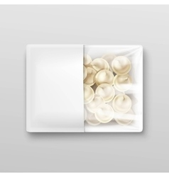 Pelmeni meat dumplings ravioli packaging vector
