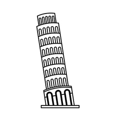 piza tower isolated icon vector image vector image