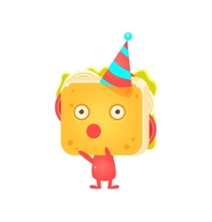 Sandwich character in party hat booing vector
