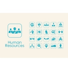 Set of human resources simple icons vector
