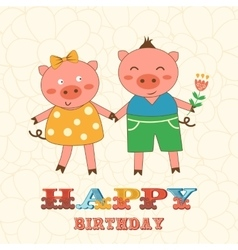 Stylish happy birthday card with cute pigs couple vector