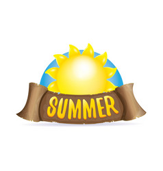 summer label with orange sun vector image
