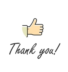 Thank you note text isolated vector image vector image