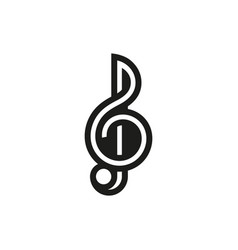 Treble clef icon on white background vector