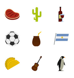 Typical argentina icons set cartoon style vector