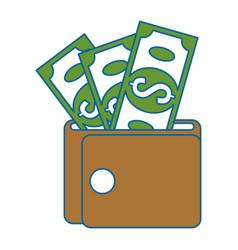 wallet money with bills vector image