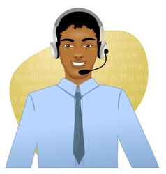 Young african american man a call operator eps10 vector