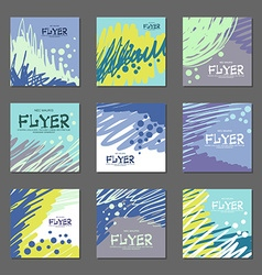 Collection of abstract postcards blue tones for vector