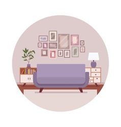 Retro interior with a sofa sideboard pictures vector