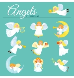 Christmas holiday set of flying angel with wings vector