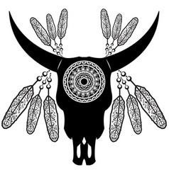 Wild animal skull in black and white aztec style vector