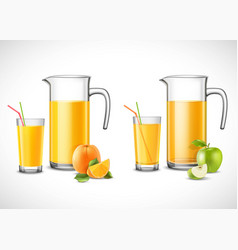 Jugs with apple and orange juice vector