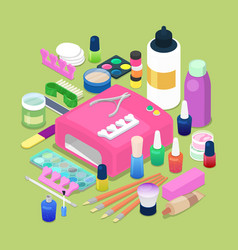 Manicure and pedicure isometric tools vector