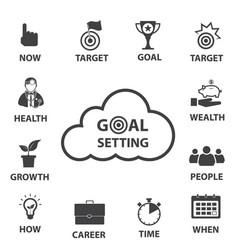 Business icon set smart goal setting vector
