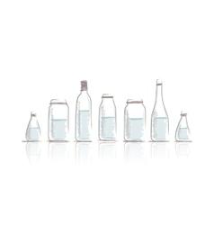 Set of bottles sketch for your design vector image