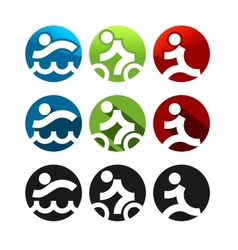 Triathlon icons vector