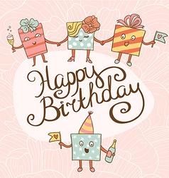 Card for birthday with gifts vector