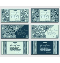 Set of blue invitation cards vector