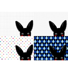 Set black rabbit background-01 vector