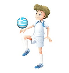 A soccer player with the Greece flag vector image vector image