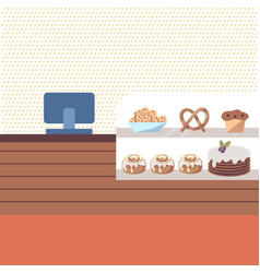 Bakery shop interior with brown counter and vector