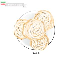 Bamiyeh or iranian doughnut vector