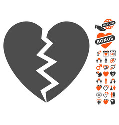 Broken heart icon with lovely bonus vector