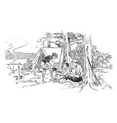 camping vintage vector image vector image