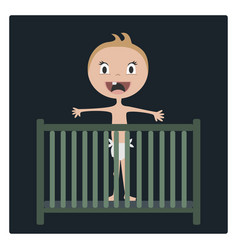 cartoon baby happy in child bed vector image vector image