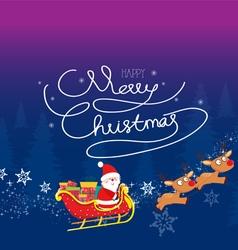 Christmas of Cartoon Santa Claus flying in his vector image