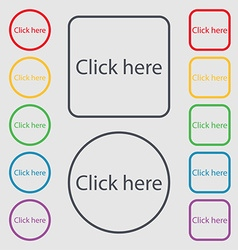 Click here sign icon Press button Symbols on the vector image