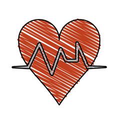 Color crayon stripe cartoon shape heart with life vector