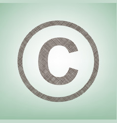 Copyright sign brown flax vector