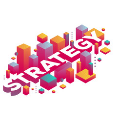 creative of three dimensional word strategy with vector image