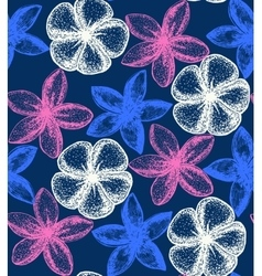Dark floral background with frangipani vector