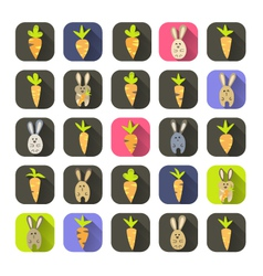 Easter colorful carrots and rabbits icon set vector