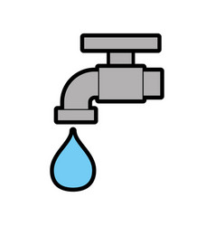 faucet with drop water vector image