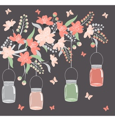 Floral branch with jars vector