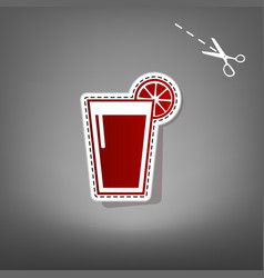Glass of juice icons red icon with for vector