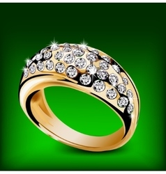 Gold ring with some diamonds vector