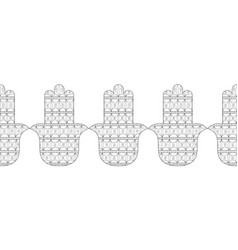 Hamsa hand black and white for vector