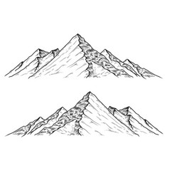 Hand drawn the mountains vector